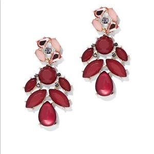 ❗️New❗️Sparkling burgundy floral drop earrings
